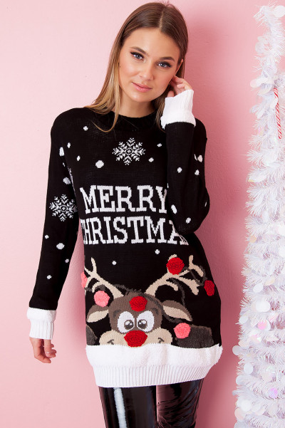 Christmas Sweater - Red-Nosed Rudolph Svart