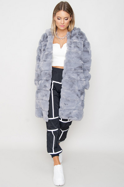 Faux Fur Coat - Camille Grå