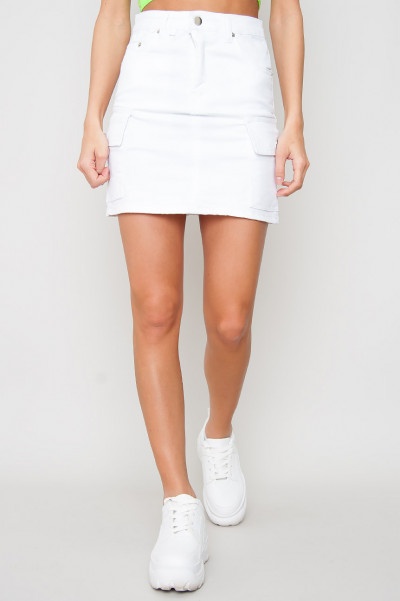 Cargo Denim Skirt - Nova White