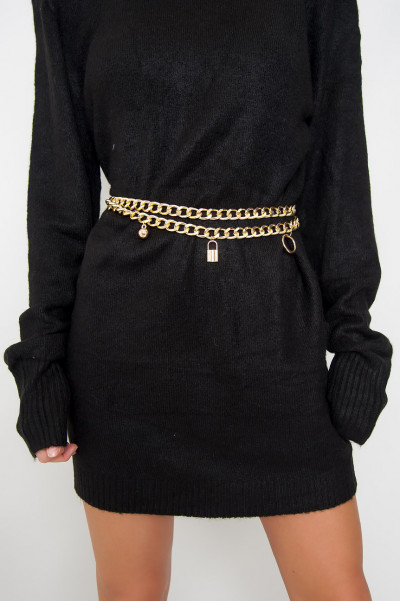 Chunky Chain Belt - Lock Me Gold