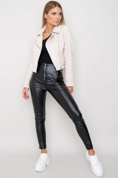 Faux Leather Zip Pants - Lani
