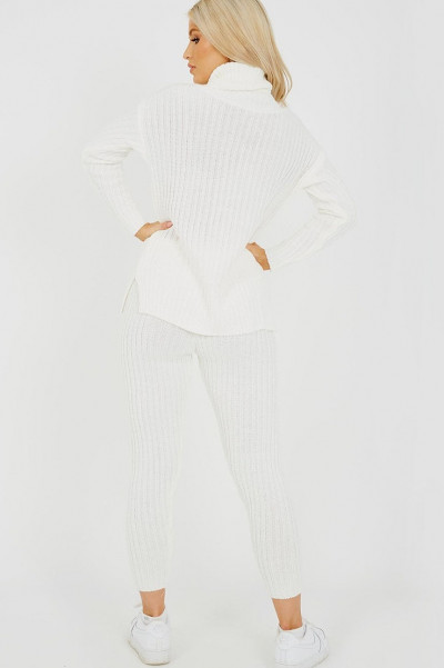 High Neck Knitted Top & Trouser Creme