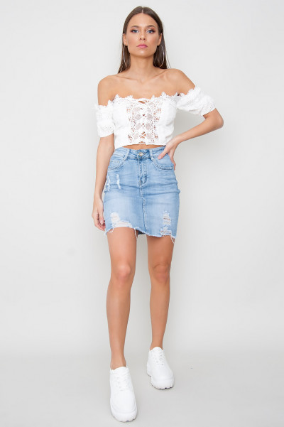Lace Up Crop Top - Mayce