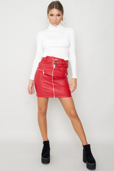 Belted Faux Leather Kjol - Chic Röd