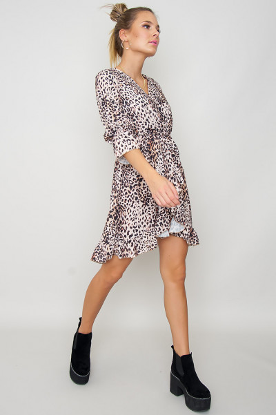 Leopard Long Sleeve Dress - Kaitlyn