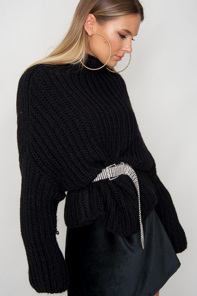 High Neck Knitted Jumper - Corrina Black