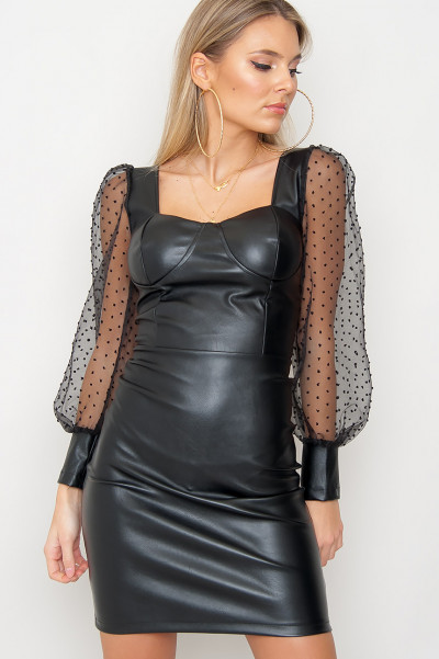 Faux Leather Mesh Sleeve Dress - Eileen