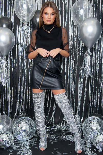 Belted Faux Leather Skirt - Hype Black