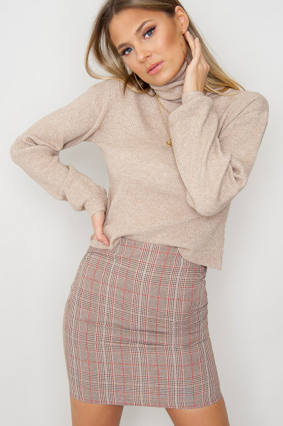 Checkered Mini Skirt - Cienna