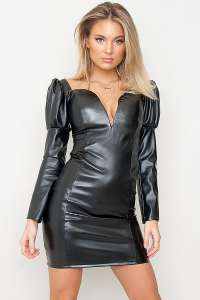 Faux Leather Bodycon Dress - Malina Svart