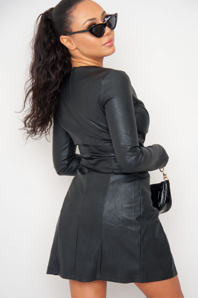 Wrapover Faux Leather Dress - Luiza Black