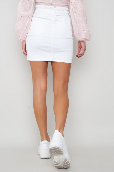 Paperbag Waist Tie Denim Skirt - Vit