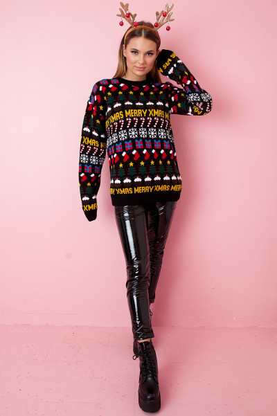 Christmas Sweater - Merry Xmas Svart