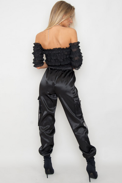 Frill Detailed Crop Top - Vanessa Black