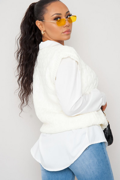 Fall For U Creme Knitted Vest