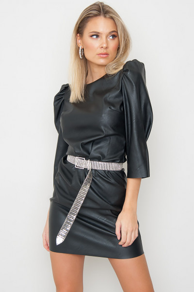Svart Faux Leather Dress - Tamra