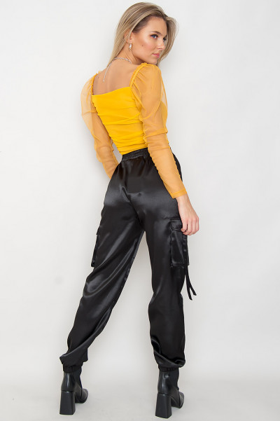 Ruched Mesh Top - Kara Yellow