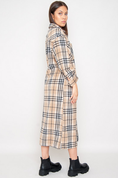 The Most Fun Beige Long Flannel Shirt
