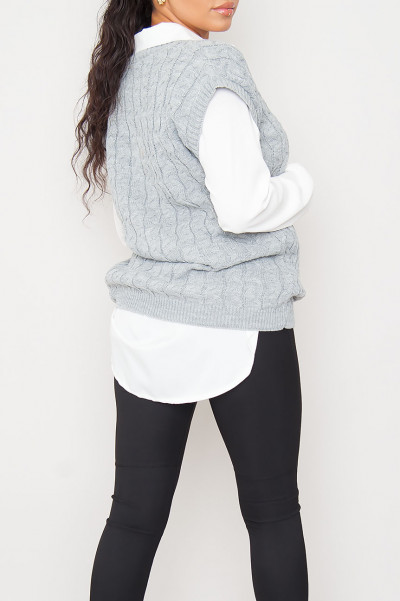 Fall For U Grey Knitted Vest