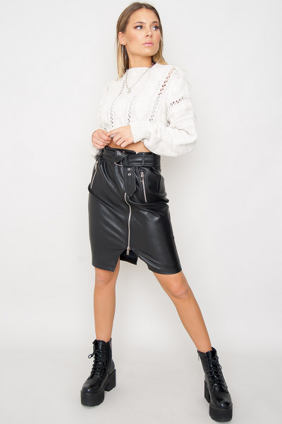 Faux Leather Zip Skirt - Avery