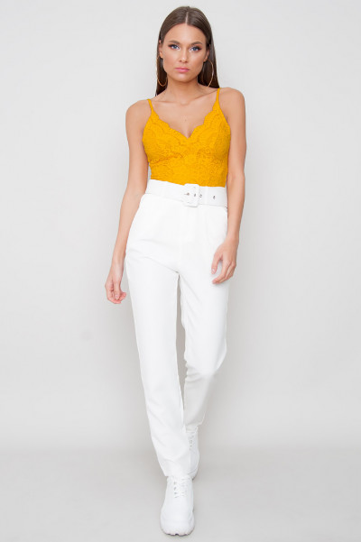 High Waist Belted Trousers - Chiara White