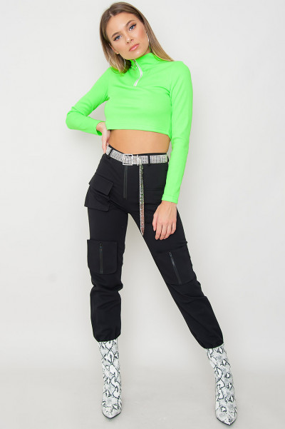 Neon Green Zipper Crop Top - Harlow