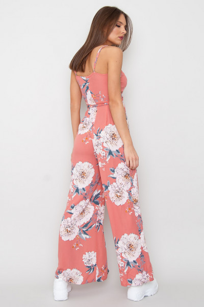 Floral Slit Jumpsuit - Peachi