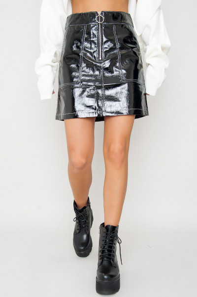 Wet Look Skirt W Zip - Shiloh
