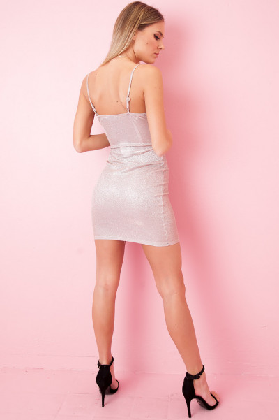 Glitter Bodycon Dress - Lux Champagne