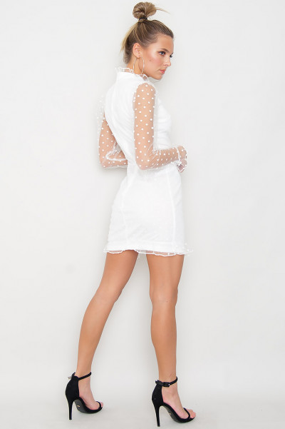 Polka Dot Mesh Dress - Paline White