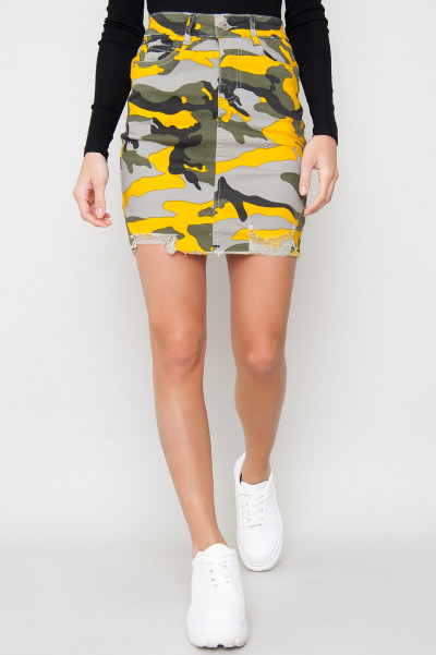 Denim Camo Skirt - Yellow Yeri