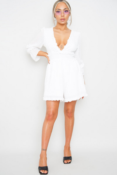 Talk About White Playsuit
