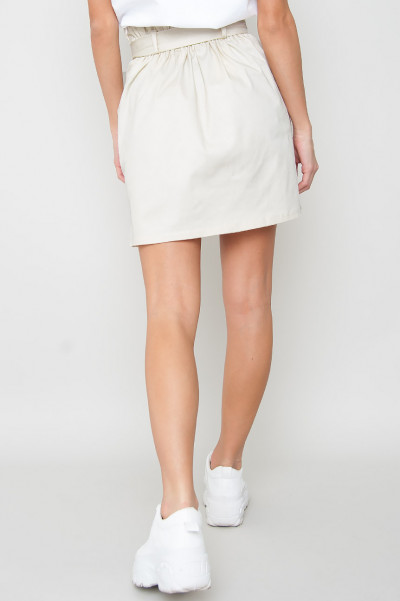 Paperbag Button Skirt - Madster Beige