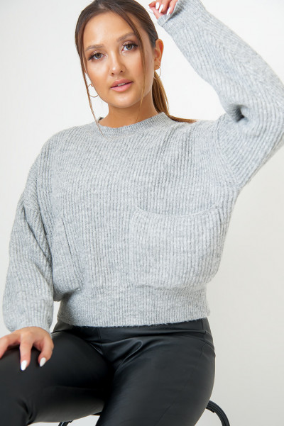Cosy Knitted Jumper - Zoel Grey