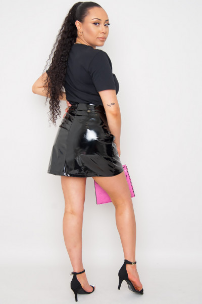 Wet Look Skirt - Kingsley Black