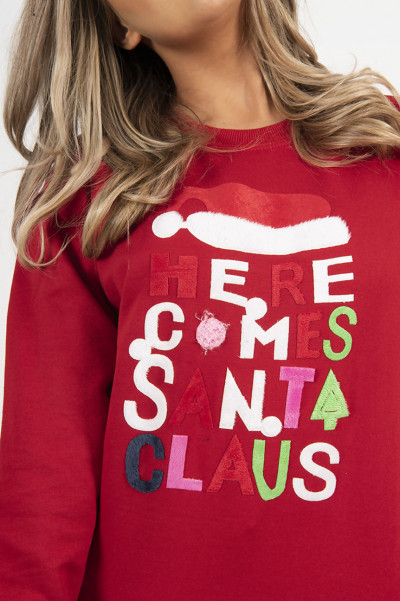 Christmas Sweater - Here Comes Santa Red