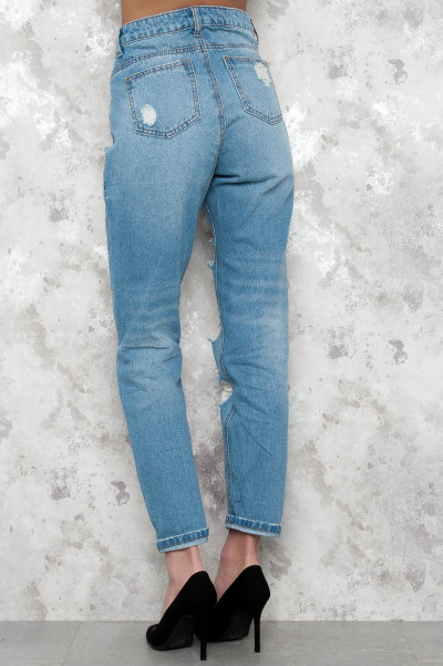Light Blue Boyfriend Jeans Low Waist - Debby