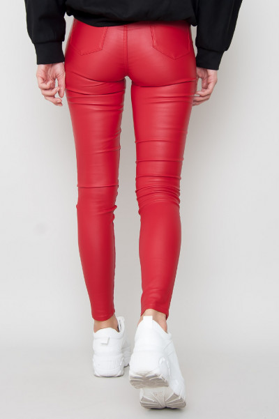 High Waist Faux Leather Pants - Bomb Röd