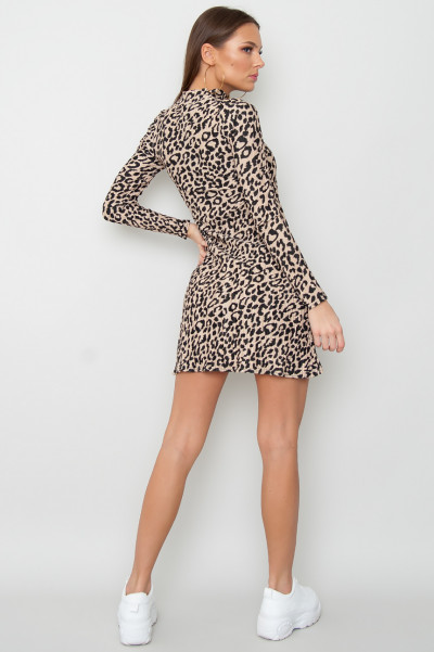 Leopard Pleated Mini Klänning - Any