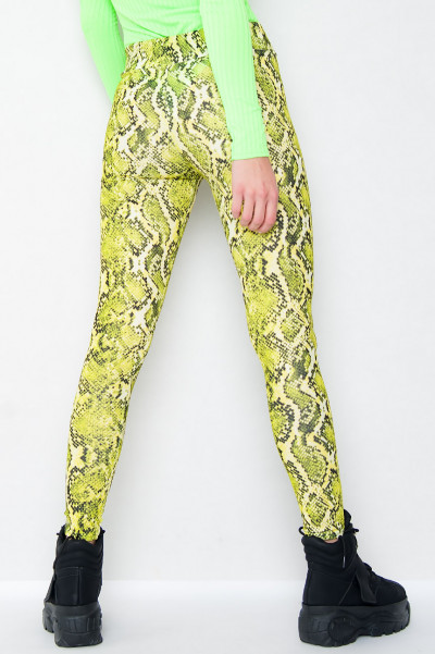 High Waisted Leggings - Sneaky Neon