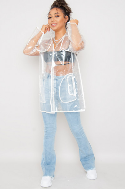 Hooded Raincoat Clear