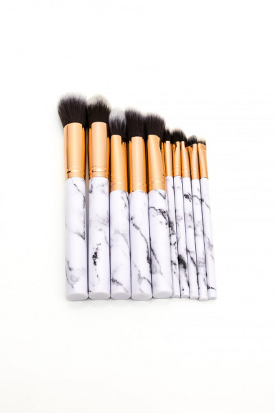 Makeup Brushes 10 Piece - Marble