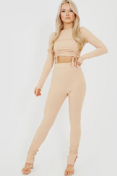 True Faith Beige Ruched Co-Ord Set