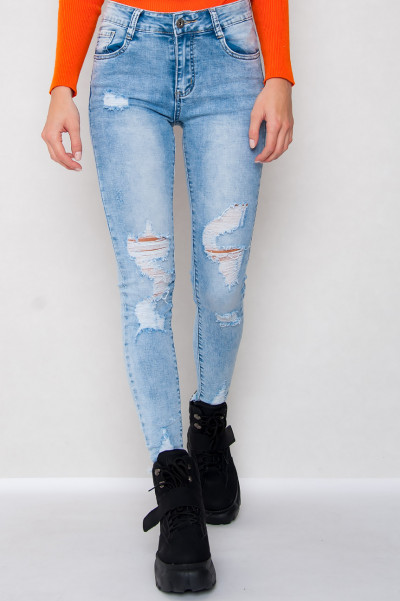 High Waist Light Blue Jeans - Sam