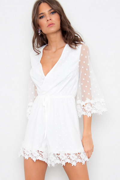 Mesh And Lace Playsuit - Dot