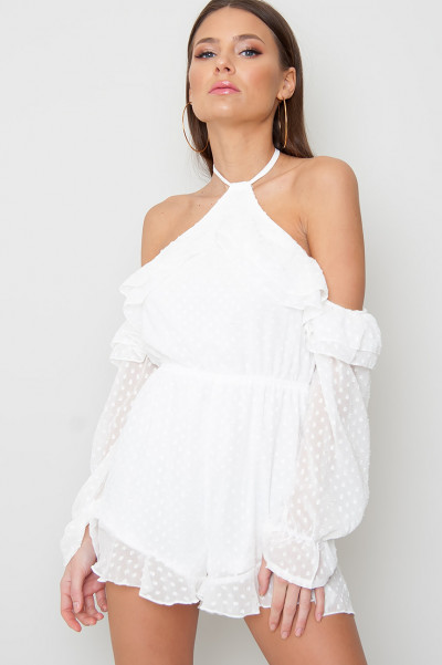Cold Shoulder Playsuit Dobby White