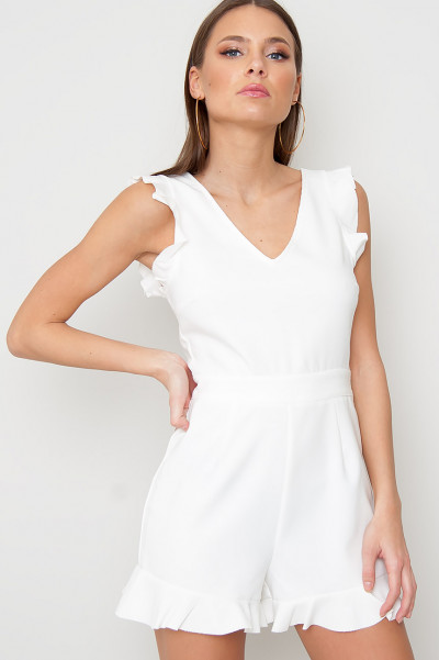 White Flared Playsuit - Kellie