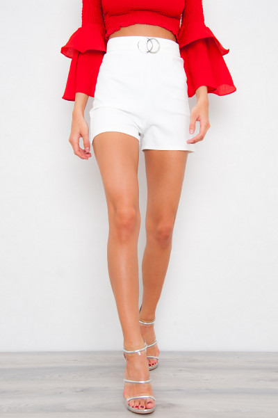 High Waisted Clasp Shorts - Vit
