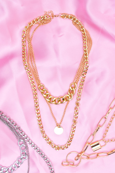 Layered Chain Necklace - Ditsy Gold