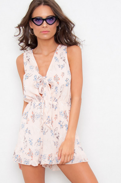 Ditsy Floral Tie Playsuit - Cassidy